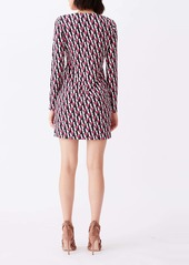 Diane Von Furstenberg DVF Reina Silk Print Long Sleeve Dress