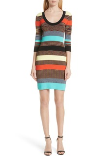 Diane Von Furstenberg DVF Ribbed Stripe Body-Con Sweater Dress