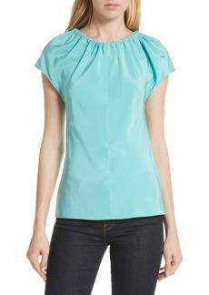 Diane Von Furstenberg DVF Ruched Neck Tie Back Silk Shell