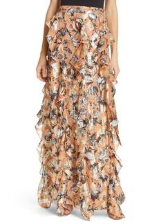 Diane Von Furstenberg DVF Salona Floral Metallic Detail Silk Ruffle Skirt