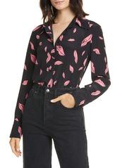 Diane Von Furstenberg DVF Samson Falling Lips Long Sleeve Silk Shirt