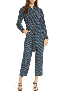 Diane Von Furstenberg DVF Alexi Belted Long Sleeve Straight Leg Crop Silk Jumpsuit