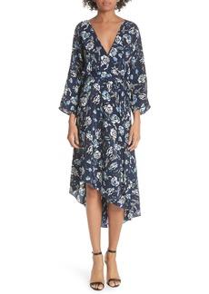 Diane Von Furstenberg DVF Silk Asymmetrical Ruffle Hem Dress