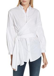 Diane Von Furstenberg DVF Sinclair Puff Sleeve Wrap Detail Shirt