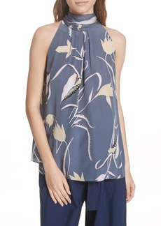 Diane Von Furstenberg DVF Sleeveless High Neck Silk Blouse
