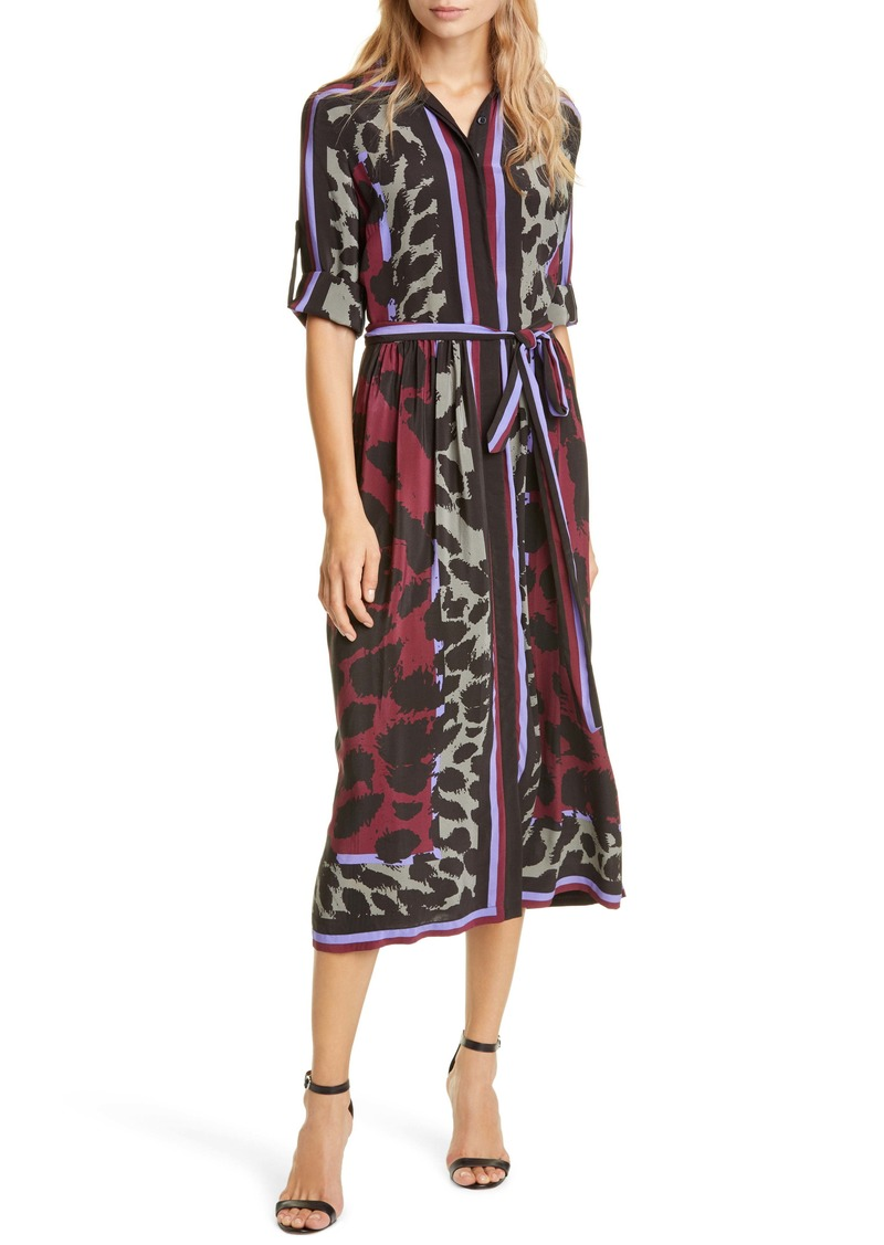 Diane Von Furstenberg DVF Sogol Pattern Mix Long Sleeve Silk Shirtdress