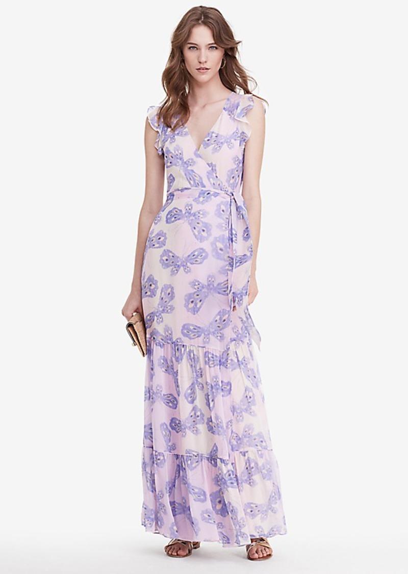 Diane Von Furstenberg DVF Stephania Tiered Chiffon Wrap Maxi Dress