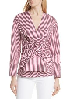 Diane Von Furstenberg DVF Stripe Bow Front Blouse