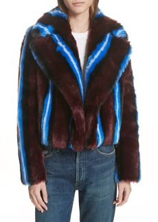 Diane Von Furstenberg DVF Stripe Faux Fur Jacket