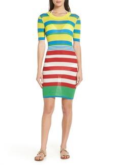 Diane Von Furstenberg DVF Stripe Ribbed Cover-Up Sweater Dress