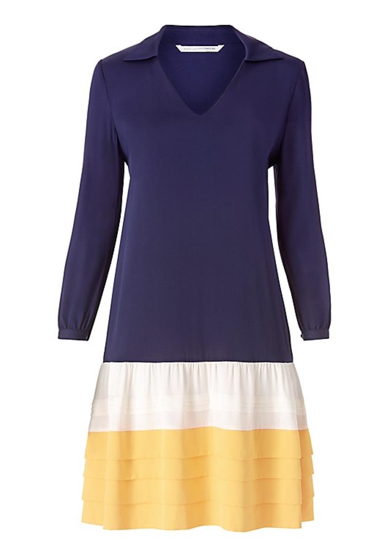 Diane Von Furstenberg DVF Susie Ruffle Silk Shirt Dress