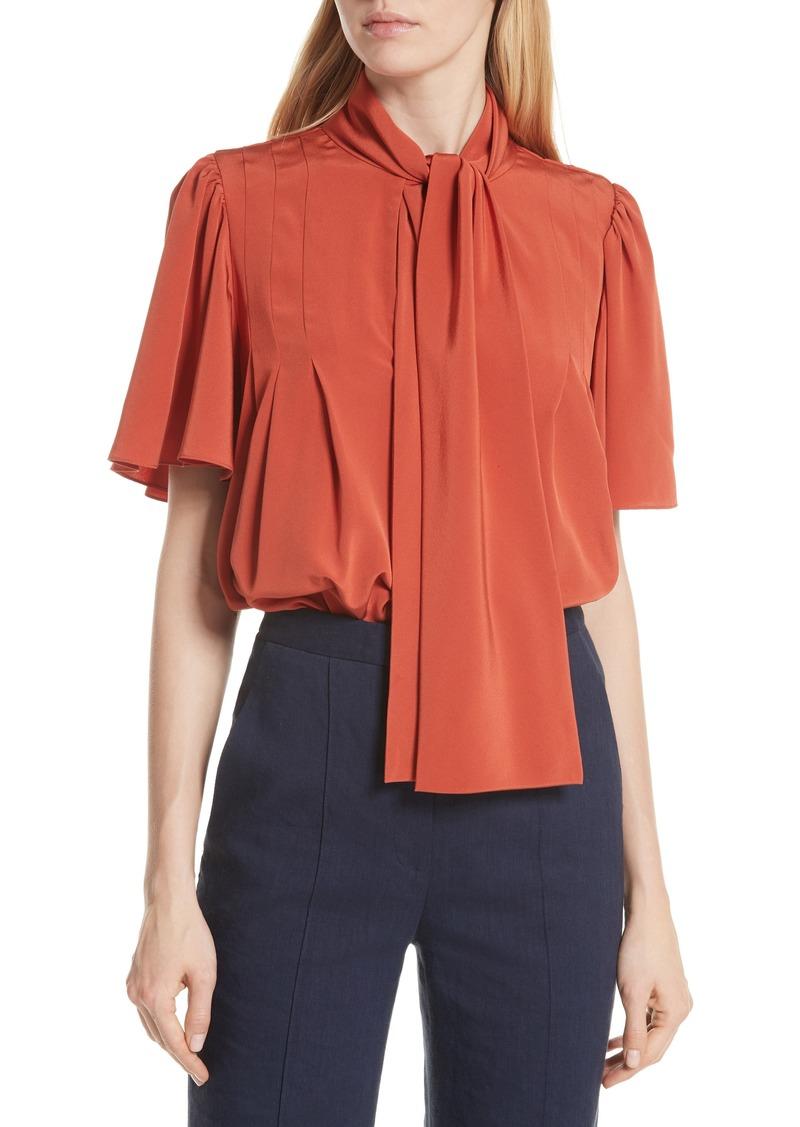 efcea600a124f Diane Von Furstenberg DVF Tie Neck Silk Blouse | Casual Shirts