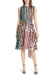 Diane Von Furstenberg DVF Tie Waist Metallic Silk Dress