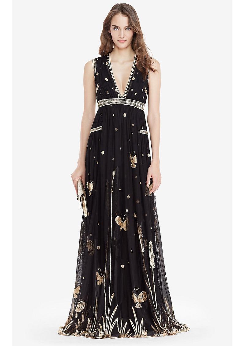 Diane Von Furstenberg DVF Vivanette Embroidered Tulle Goddess Gown