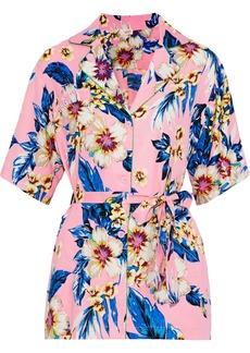 Dvf West Diane Von Furstenberg Woman Belted Floral-print Twill Shirt Baby Pink