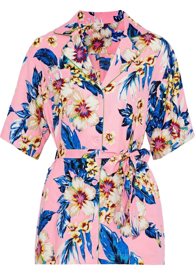 Dvf West Diane Von Furstenberg Woman Belted Printed Twill Top Baby Pink