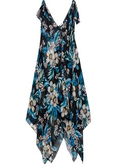 Dvf West Diane Von Furstenberg Woman Draped Floral-print Silk-chiffon Maxi Dress Black