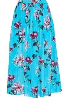 Dvf West Diane Von Furstenberg Woman Floral-print Cotton And Silk-blend Midi Skirt Turquoise