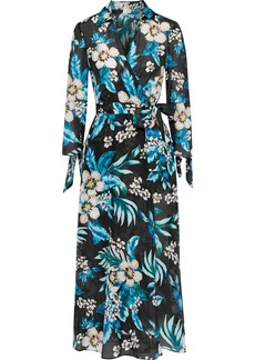 Dvf West Diane Von Furstenberg Woman Floral-print Cotton And Silk-blend Midi Wrap Dress Light Blue
