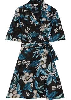 Dvf West Diane Von Furstenberg Woman Floral-print Cotton And Silk-blend Mini Wrap Dress Black