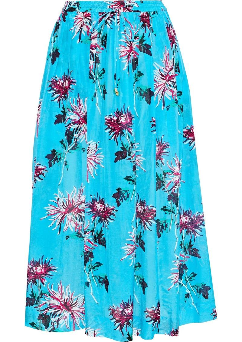 Dvf West Diane Von Furstenberg Woman Gathered Cotton And Silk-blend Midi Skirt Turquoise