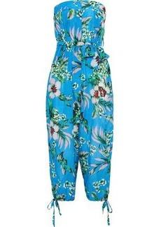 Dvf West Diane Von Furstenberg Woman Strapless Cropped Floral-print Cotton And Silk-blend Jumpsuit Sky Blue