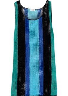 Dvf West Diane Von Furstenberg Woman Striped Crocheted Cotton Tank Light Blue