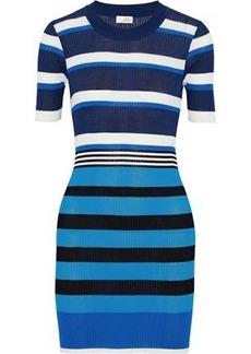 Dvf West Diane Von Furstenberg Woman Striped Ribbed Cotton-blend Mini Dress Blue