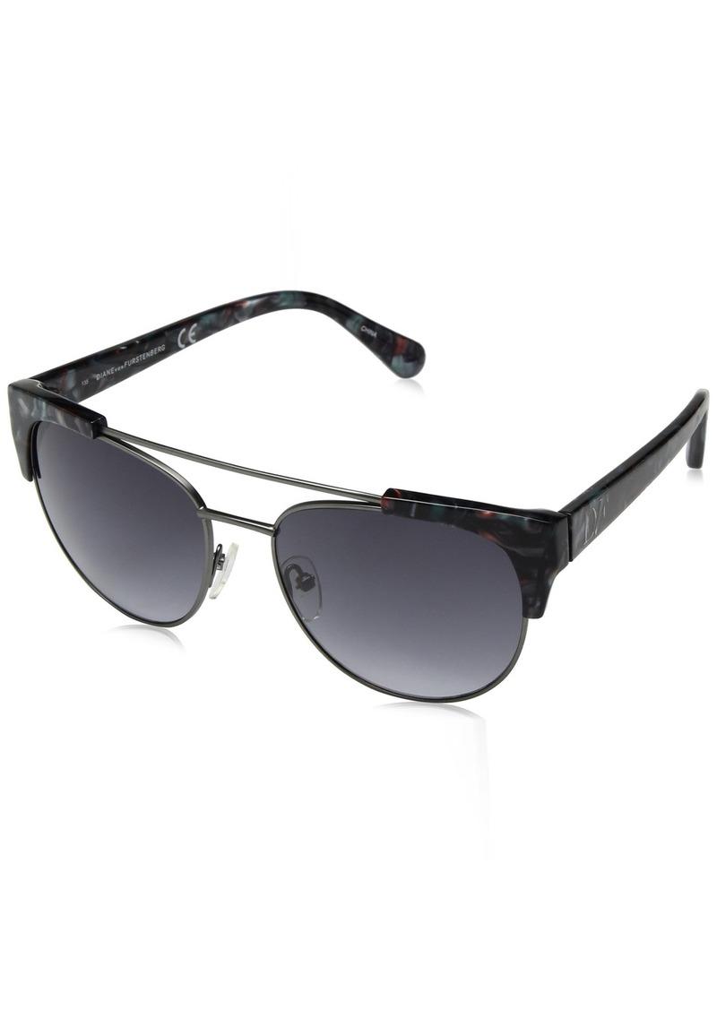 Diane Von Furstenberg DVF Women's Carine Oval Sunglasses BLUE BLUSH MARBLE
