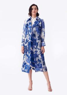 Diane Von Furstenberg Eda Organza Trench Coat in Willow Patterns