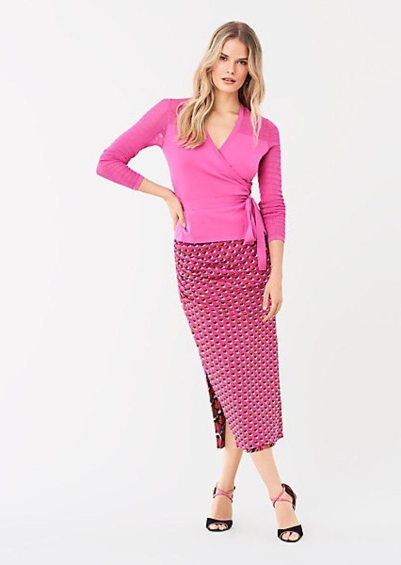 Diane Von Furstenberg Edna Reversible Ruched Mesh Midi Skirt