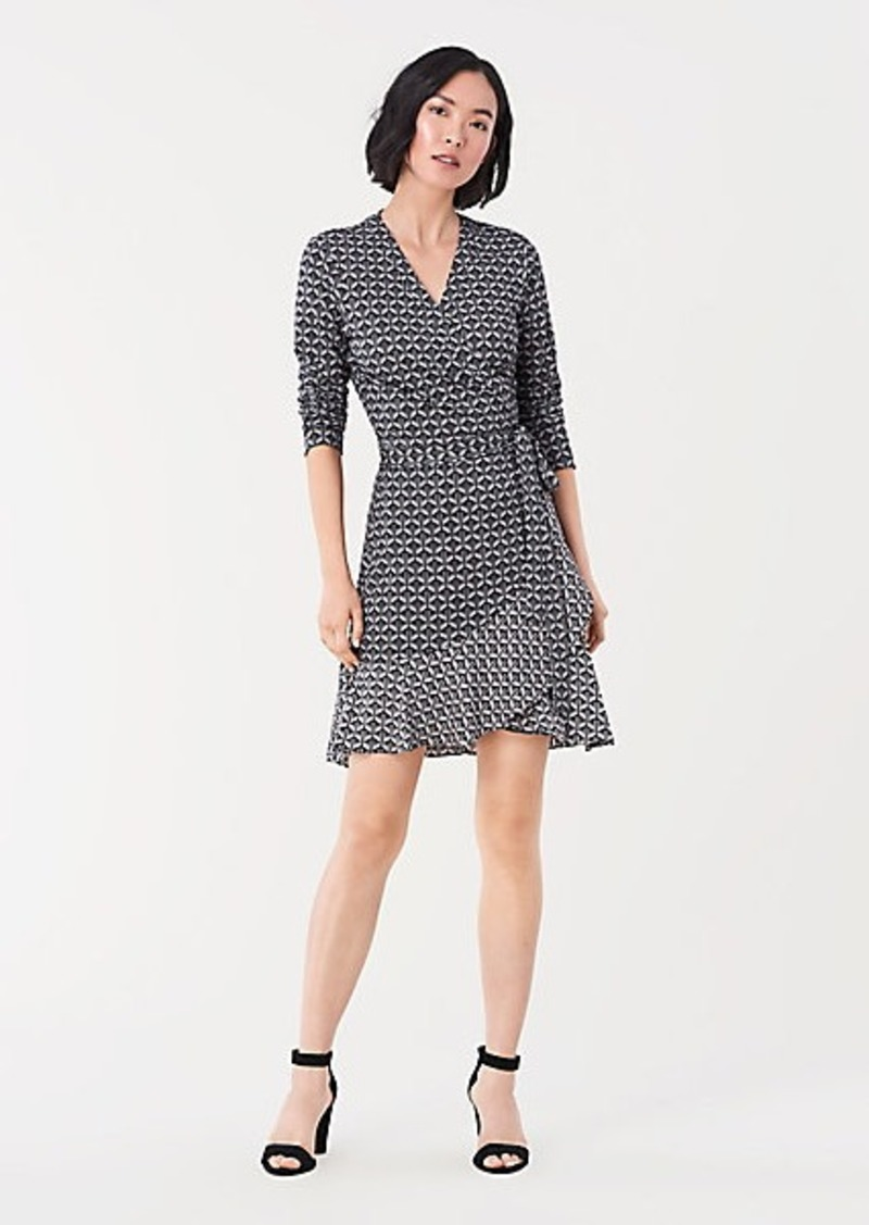Diane Von Furstenberg Elita Silk-Jersey Ruffled Mini Wrap Dress