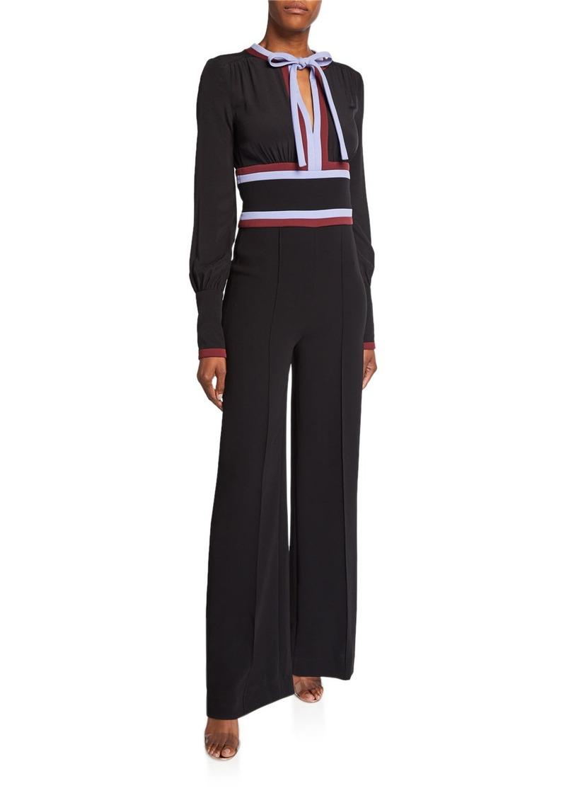 Diane Von Furstenberg Elkie Tie-Neck Long-Sleeve Jumpsuit