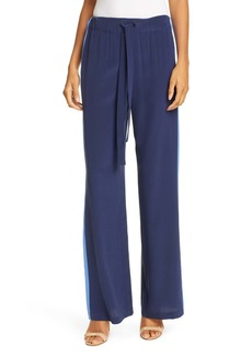 Diane Von Furstenberg Ellington Side Stripe Drawstring Silk Pants