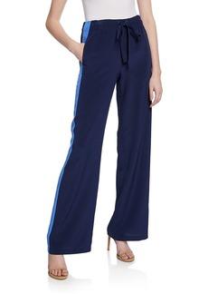 Diane Von Furstenberg Ellington Silk Track Pants with Side Stripes