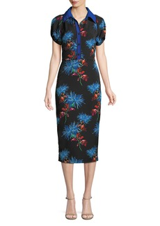 Diane Von Furstenberg Elly Floral Short-Sleeve Midi Polo Dress