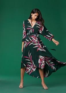 Diane Von Furstenberg Eloise Asymmetric Hem Midi Silk Dress