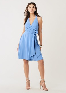 Diane Von Furstenberg Violet Crepe Halter Wrap Dress