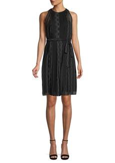 Diane Von Furstenberg Embellished Pleated A-Line Dress