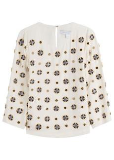 Diane Von Furstenberg Embellished Silk Blend Blouse