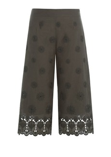 Diane Von Furstenberg Embroidered Cotton Culottes