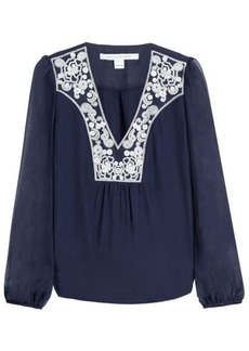 Diane Von Furstenberg Embroidered Silk Long Sleeve Top