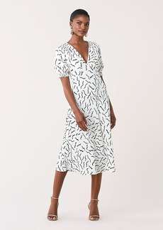 Diane Von Furstenberg Idris Cinch-Sleeve Crepe Midi Dress