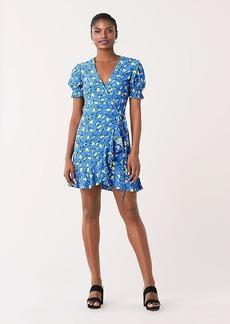 Diane Von Furstenberg Emilia Ruffled Crepe Mini Wrap Dress