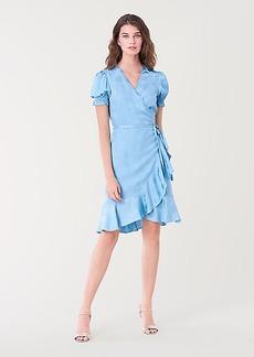 Diane Von Furstenberg Emilia Ruffled Soft Jacquard Mini Wrap Dress