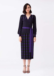 Diane Von Furstenberg Emily Ribbed Knit Wrap Top in Purple Green Gingham