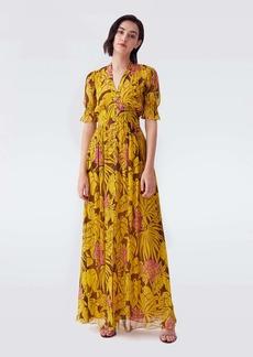 Diane Von Furstenberg Erica Chiffon-Blend Length_Maxi Dress in Palm Yellow