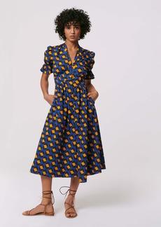 Diane Von Furstenberg Erica Cotton Midi Dress in Arrow Head Navy