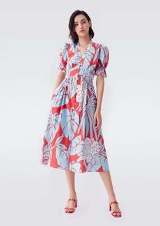 Diane Von Furstenberg Erica Cotton Midi Dress in Palms Giant