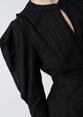 Diane Von Furstenberg Erin Cotton-Jacquard Blouse in Black